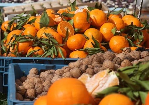 Zutaten für den persischen Orangensalat